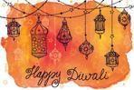 Happy Diwali festival.India Traditional hanging lamp.Doodle,Watercolor card.Greeting card.Hand drawing decor.Indian religion holiday Holy diya Shubh Deepawali.Horizontal Illustration