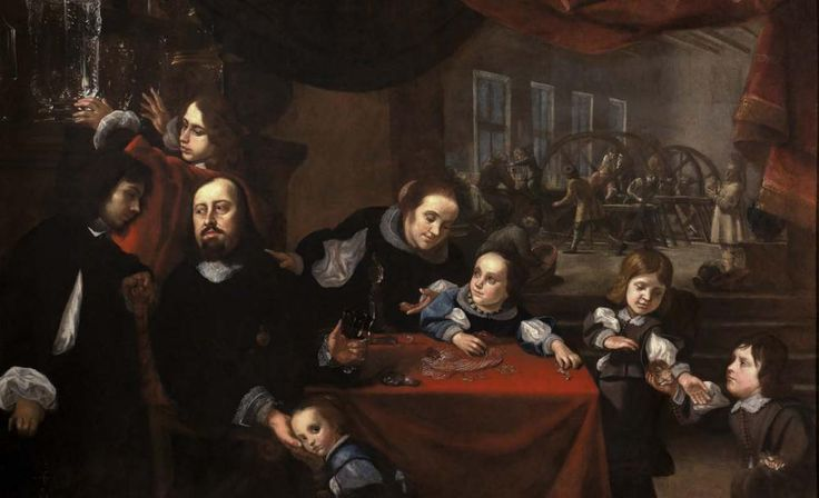 Karel Škréta: Podobizna řezáče drahokamů Dionysia Miseroniho a jeho rodiny, 1653, olej na plátně, © NG v Praze