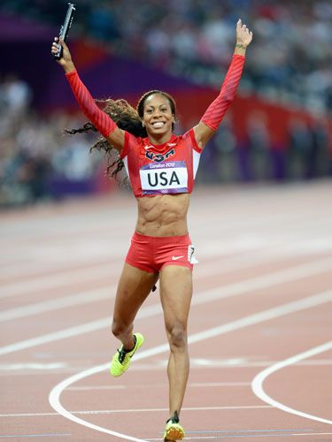 Sanya Richards-Ross snagged two more gold medals in London. More of the best moments from the Olympics here: http://www.seventeen.com/health/best-london-olympics-moments