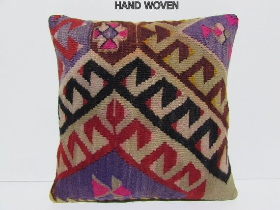 Kilim Pillow Decor Pillow 18x18 DECOLIC Couch Pillow Dining Chair Cushion  Outdoor Cushion Cover Vintage Rug