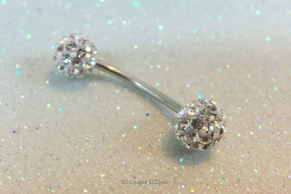 Bellybutton ring with Swarovski crystal balls by CuteBellyRingsNBling, $12.75