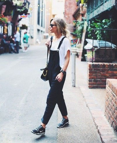 Baggy overalls + white tee + tennies