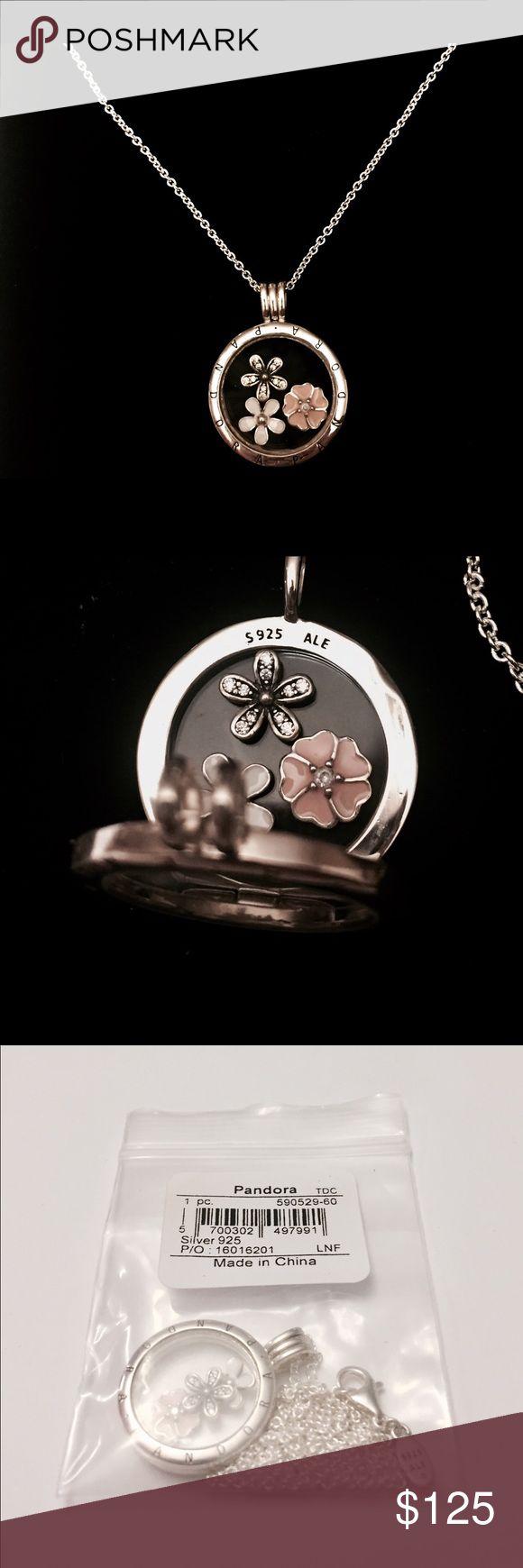 Pandora Floating Locket Necklace W/ Petites. The Necklace Comes with the Pandora Necklace Tag and the Pandora Hinged Necklace Box. Pandora Jewelry Necklaces