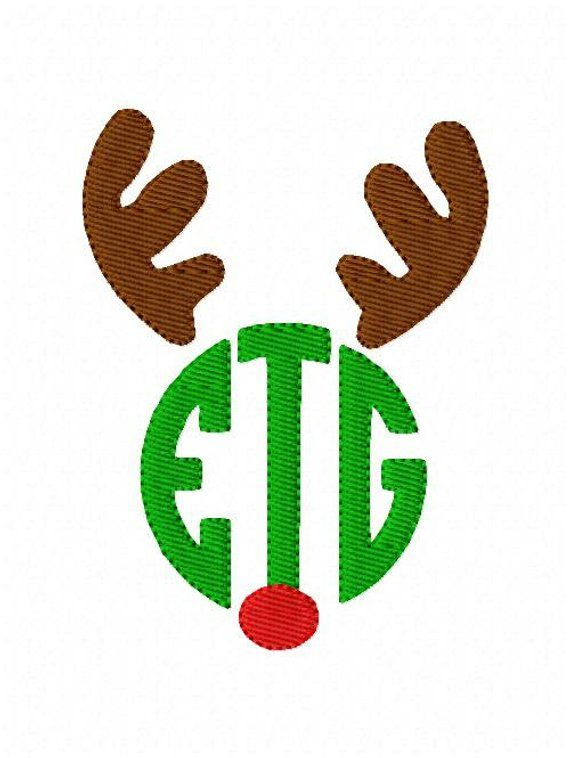 reindeer antler monogram design with and without the red nose 3 letter monogram embroidery design christmas embroidery joyful stitches