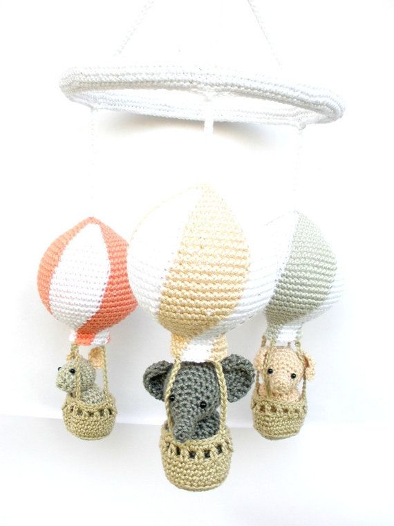 Baby Girl Nursery Mobile with Hot Air Balloons by Crochetonatree