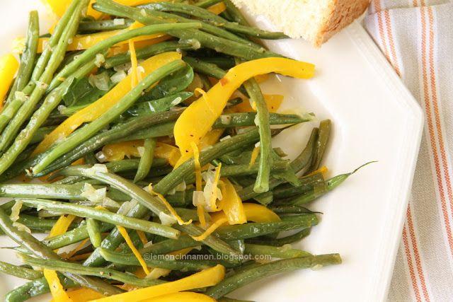 ΛΕΜΟΝΙ ΚΑΙ ΚΑΝΕΛΑ: Φρέσκα φασολάκια με κίτρινες πιπεριές και άρωμα πο...