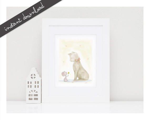 Printable Nursery Art 'Friends'' Mouse Cat by LittleYellowDaisiess
