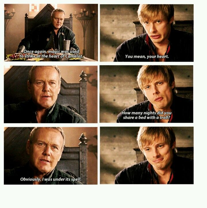 How many nights did you sleep with a troll. I love this episode. It's the first time Arthur and Uther really have a good laugh together.