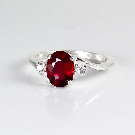 Echte Rubin Ring Sterlingsilber / Pigeon Blood Silber Rubinring
