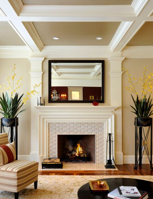 Elegant Transitional Living Room Design Interior Used Concrete Fireplace  Mantels Designs Ideas Inspiration