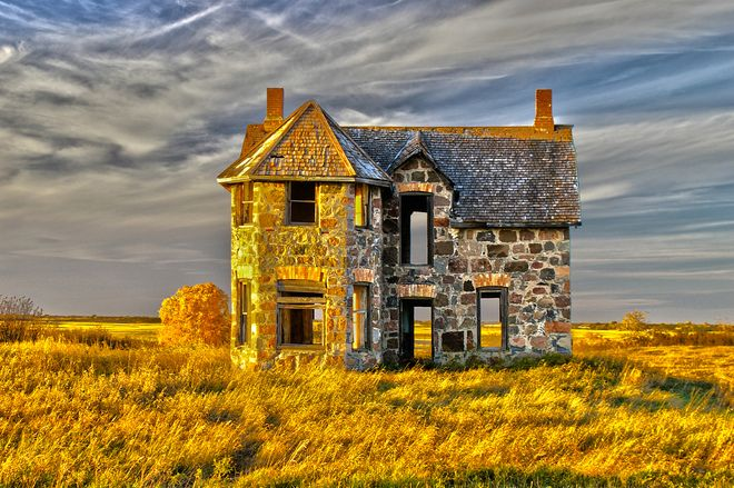 This old farm house in Esterhazy, Saskatchewan was likely built by a European stone mason. It has stood the test of time