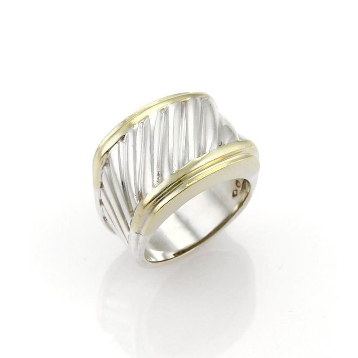 Cigar ring by David Yurman, this ring is crafted from sterling silver and 14k yellow gold and boast a simple but elegant design, the top is a rectangular shape in a wide form with Yurman's famous cable design starting from the top and tapering down the two sides of this pretty ring. | eBay!
