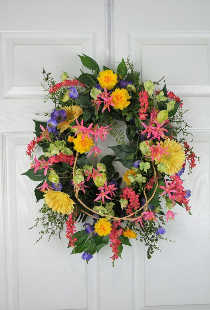 Spring/Summer Wreath,  Spring Wreath, Summer Wreath, Floral Wreath by HeatherKnollDesigns on Etsy