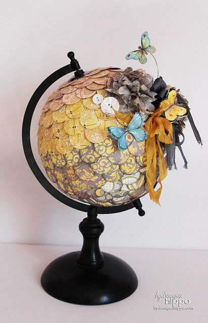 inspiration for recycled bits and pieces on globe
