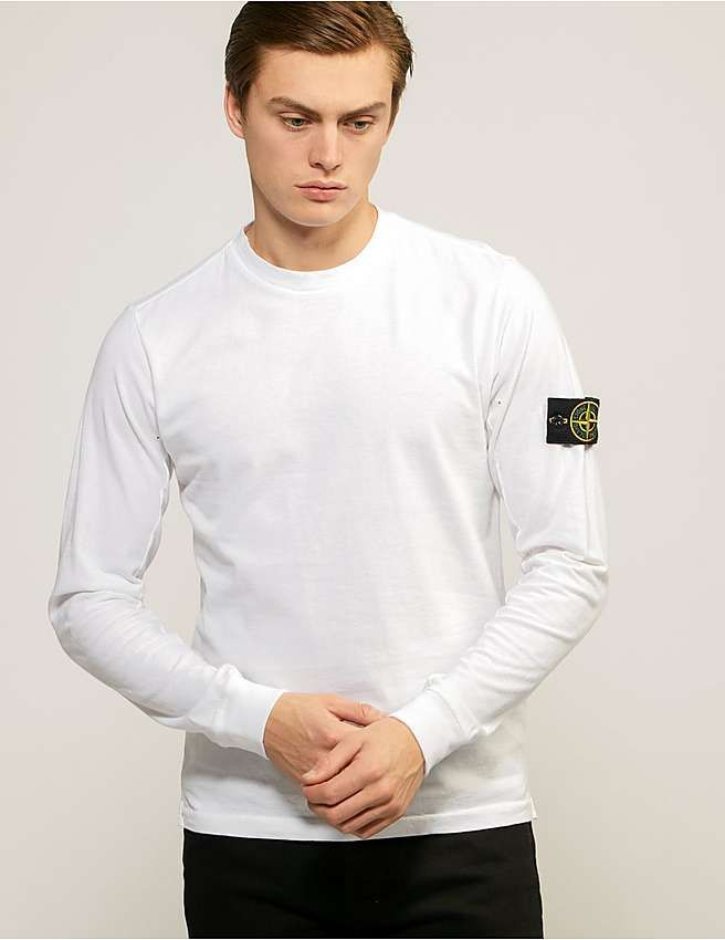 white Stone Island Long Sleeve Badge T-Shirt