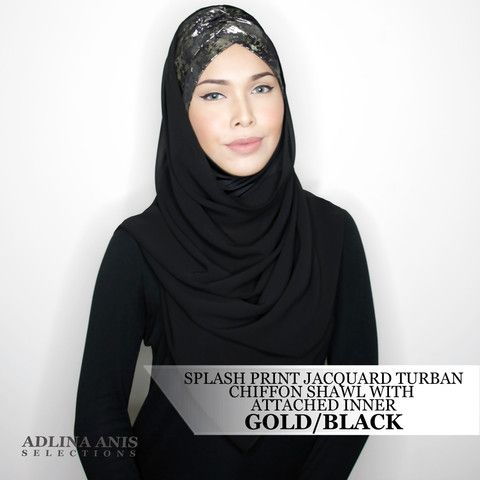 SPLASH PRINT JACQUARD TURBAN CHIFFON SHAWL WITH ATTACHED INNER - GOLD/BLACK  Sold Out - $68.00 SGD  Limited Edition Slip-on Turban with shawl and attached ninja providing a fuller coverage. Style it like the onesie. Size: Fits small to medium  You'll find only the best hijabs / tudungs / scarves that are shipped worldwide.  Click through to the website to find out more.