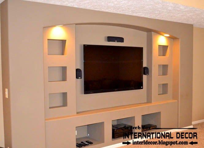 Stylish built in shelves, corner shelves of plasterboard