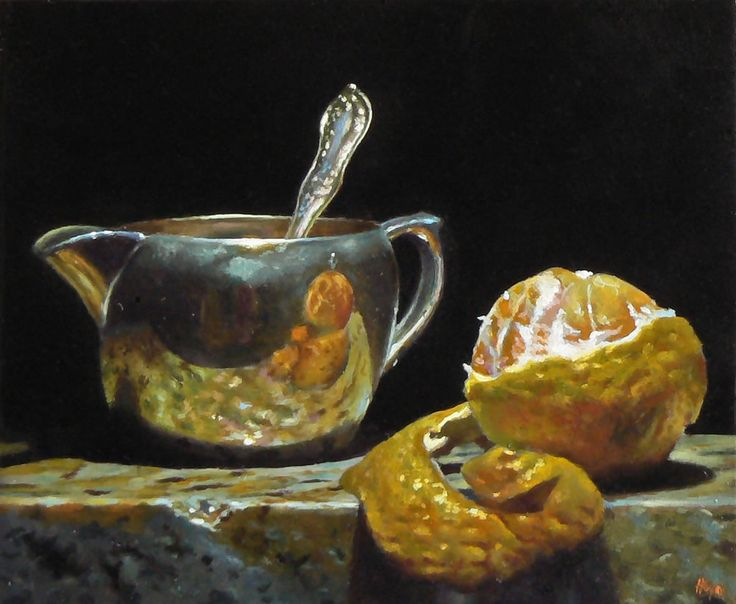 """Today's painting for you:  """"Silver Creamer and Peeled Orange"""", Oil on Panel, 5×6 inches, 2011"""
