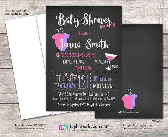 Chalkboard Girl Baby Shower Invitation, Brunch Baby Shower Invitation, Girl Baby  Shower Brunch Invite, Printable Invitation