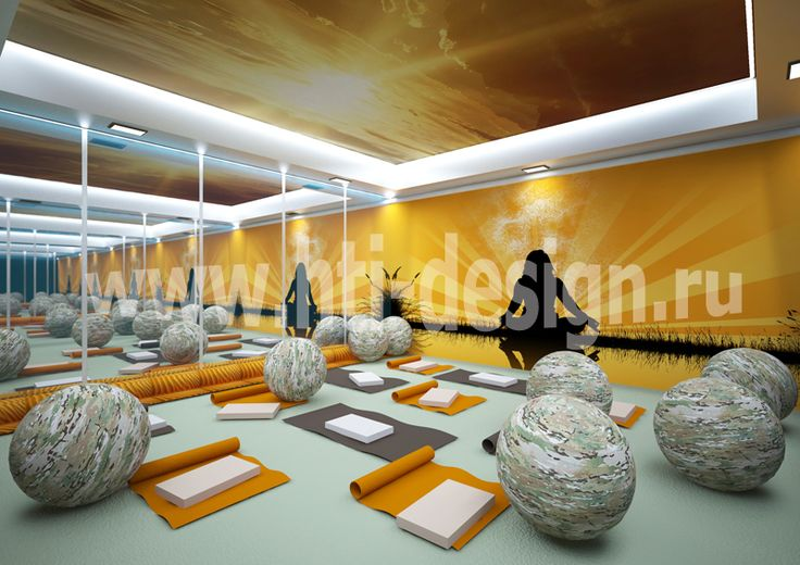 Youth center in military style - yoga room