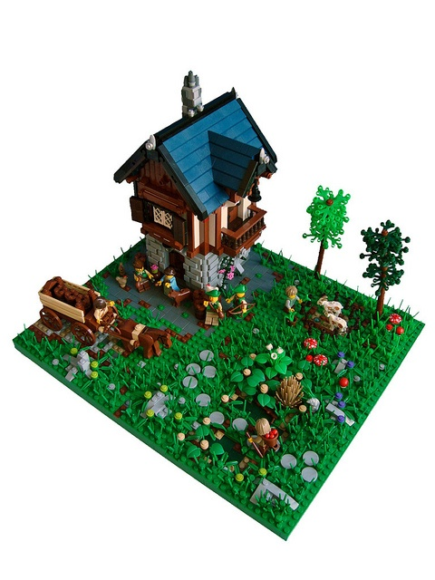 Love the building and the garden - the base with brick detail is awesome!