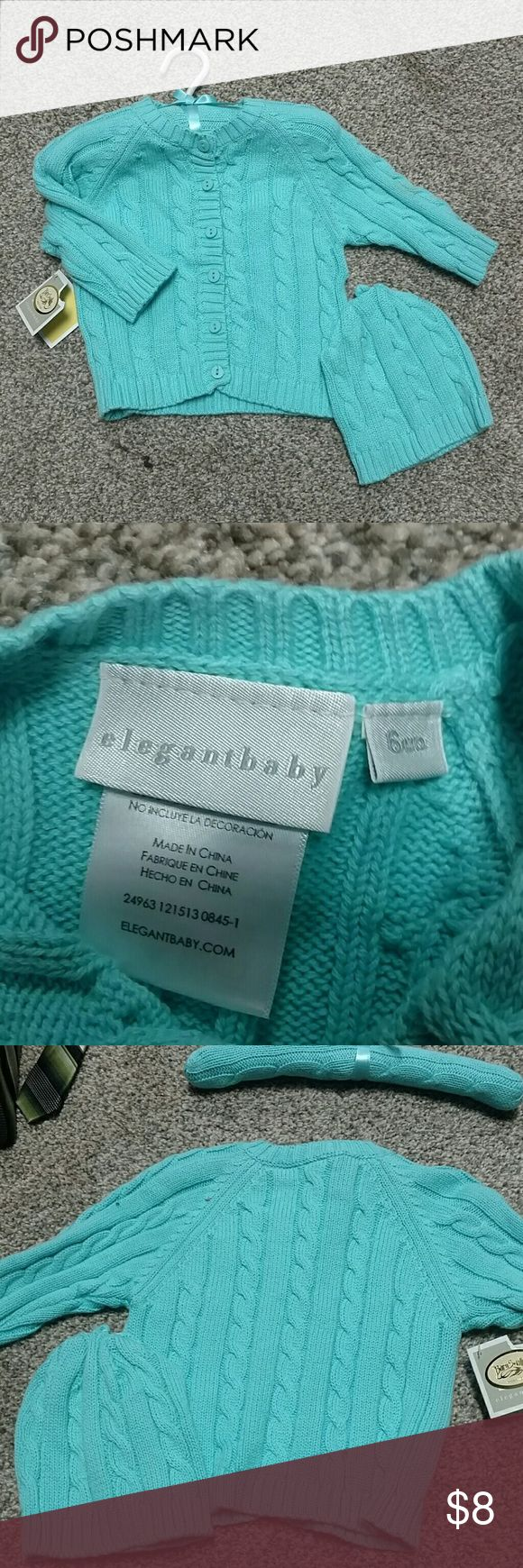 Baby Girl Turquoise Cardigan and Hat NWT, baby cardigan and matching hat elegant baby  Shirts & Tops Sweaters