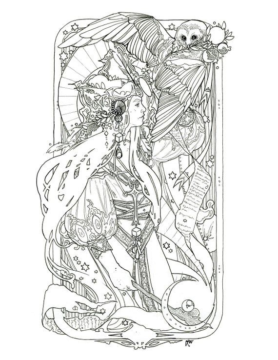High Priestess The Star Coloring Pages In 2021 Star Coloring Pages Coloring Pages Tarot Tattoo