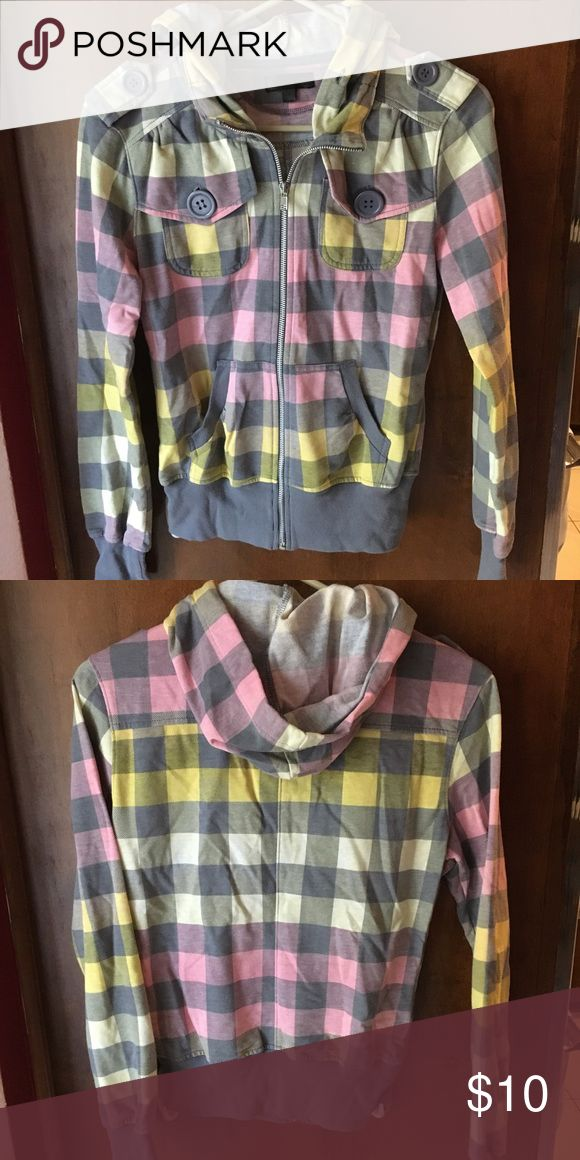 Women's checkered hoodie in pink, yellow and grey Women's checkered hoodie in pink, yellow and grey. Size small. Pick grey and yellow checkers cover hoodie. Used with minimal signs of wear. Tops Sweatshirts & Hoodies
