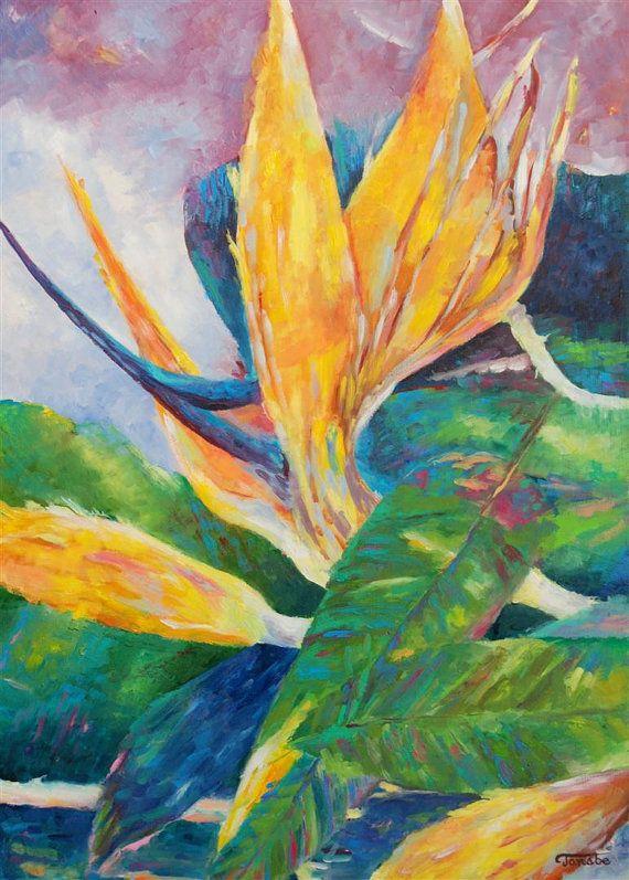 Original abstract flowers oil painting strelitzia by TanabeStudio, zł1400.00