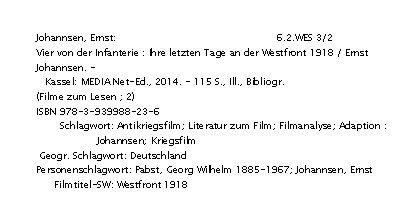 """Soeben entdeckt, in der Neuerwerbungsliste der Deutschen Kinemathek, Berlin, unser """"Infanterie-Buch""""!"""