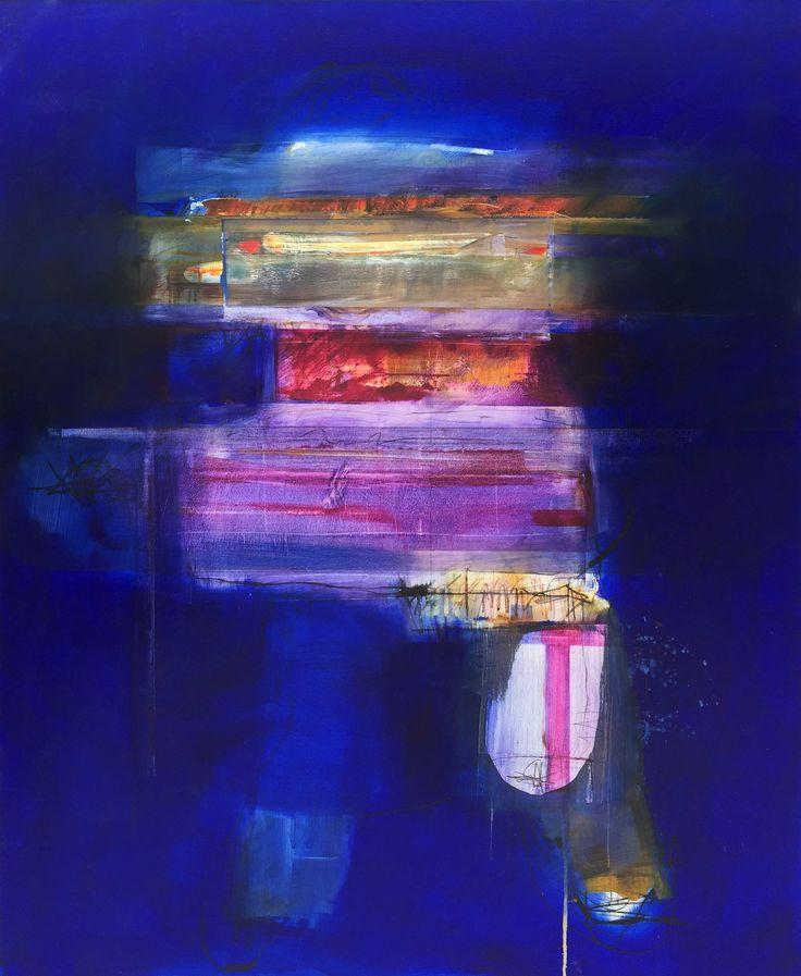 """""""Blue on Blue 4"""" 153cm x 122cm SOLD © John Waller"""