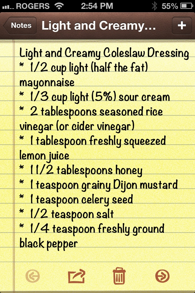 Coleslaw Dressing (use Greek yogurt instead of mayo and sour cream) I tried this and didn't have yogurt or sour cream - used coconut milk cream - also used 3T of rice vinegar - this is an awesome recipe!