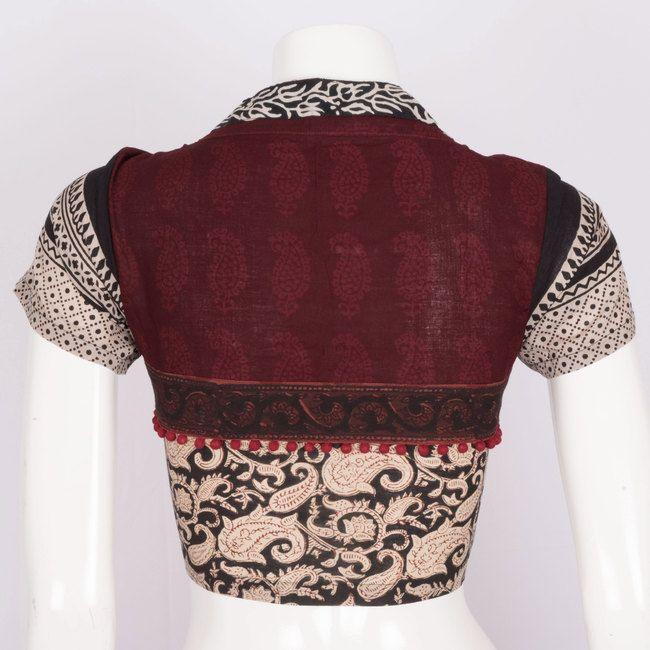 Svasa Hand Block Printed Kalamkari Cotton Blouse 10008872 - Size 36