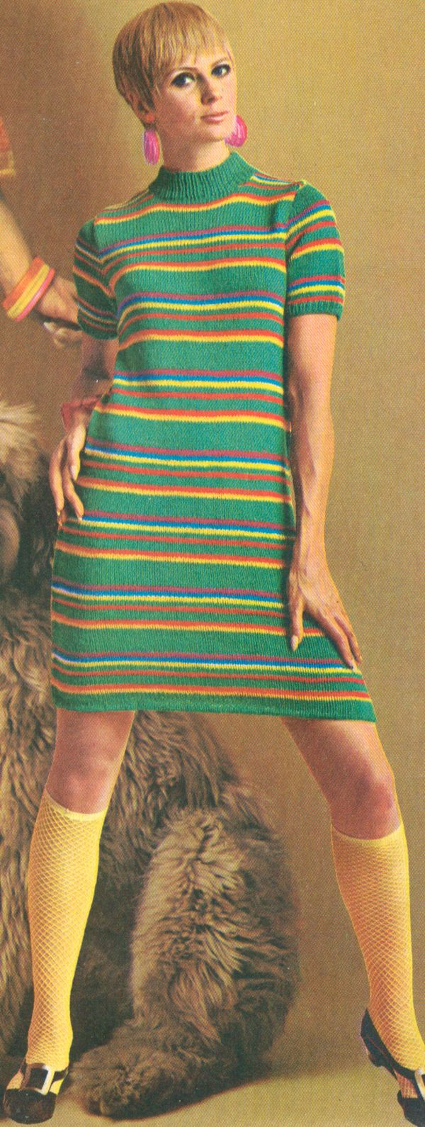 MOD 1960s Jazzy Stripe Sweater Dress Knitting pattern PDF