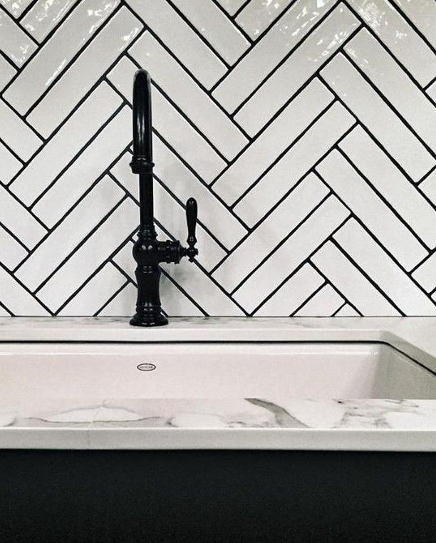 In Love With This Double Herringbone Design Using Our Cape Cod Subway Tile Thank Herringbone Tile Bathroom White Subway Tile Backsplash Chevron Tiles Bathroom