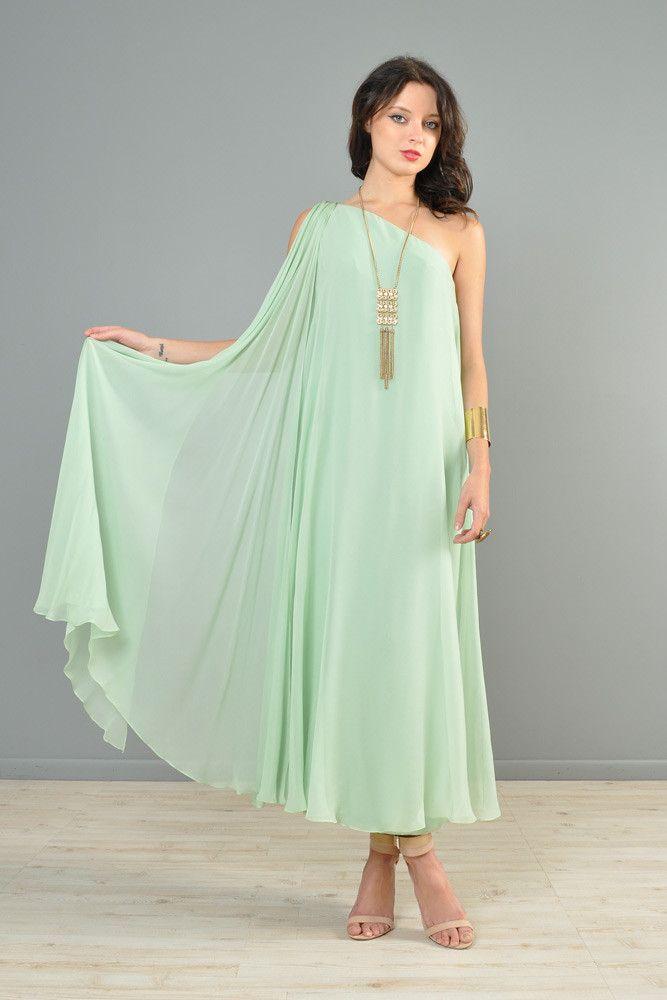 Mint Green 1960s One-Shouldered Silk Chiffon Gown | BUSTOWN MODERN