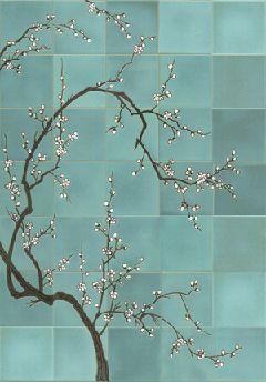 Ann sacks sakura cherry tree mural tile floor love for Cherry tree mural
