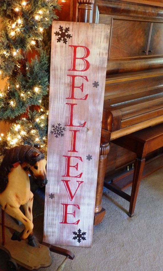 Large Vertical Distressed Red Believe sign with Metal Snowflakes, wood hand painted signs, christmas deocrations, christmas gifts