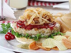 Satisfy your cravings for Thanksgiving dinner any day of the year with our recipe for Can't-Wait-Until-Thanksgiving Burgers. With each bite you get the juiciness of the turkey, the comforting taste of the stuffing, and the sweet and tanginess of the cranberry horseradish!