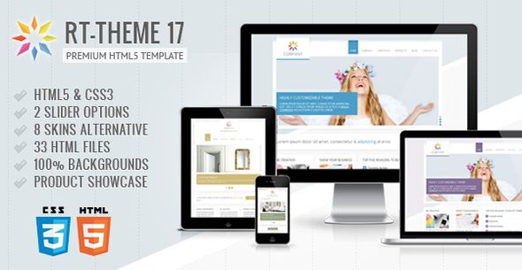 RT-Theme 17 Premium HTML5 Template   http://themeforest.net/item/rttheme-17-premium-html5-template/4434485?ref=damiamio                  RT-Theme 17 Premium Responsive HTML5 Template  RT-Theme 17 is a business html5 template with product showcase. You can use it for business, corporate, product catalogue, tour agency, services or portfolio web sites etc.  Theme Features   Responsive design  Valid HTML5 & CSS3 coding  8 color options  2 Sliders with 4 different usage  33 HTML files  Many…
