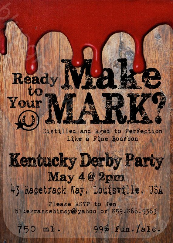 Kentucky Derby Party Red Wax/ Makers Mark/ Ky Bourbon/ Whiskey Label 5x7 Printable Invitation