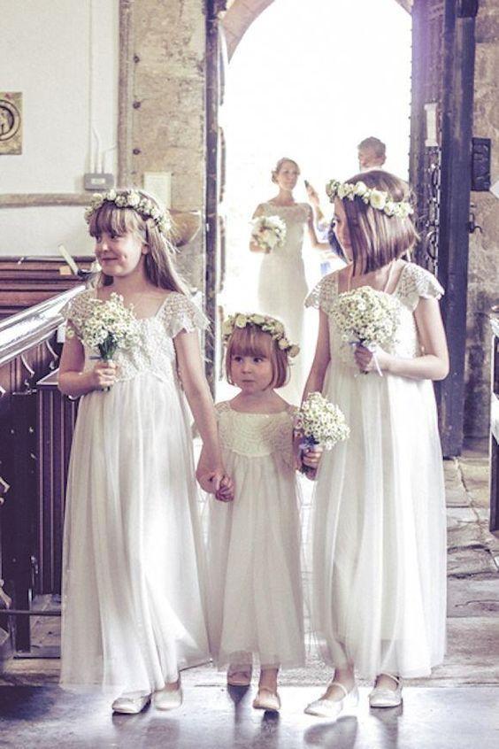 Vintage Wedding Dresses Flower Girls Capped Sleeve Low Back Princess White/Ivory Boho Flower Girl Dresses Children Communion Party Gowns Wedding Gowns Bridal Dresses From Angelsbridep, $50.27| Dhgate.Com: