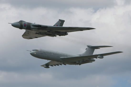 Vulcan to the Sky's Avro Vulcan XH558 in formation with a Vickers VC10 Tanker/Transport at RAF Brize Norton Families Day in June of 2009.
