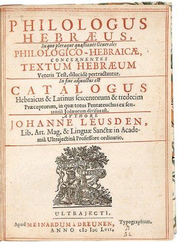 LEUSDEN, Jan. Philologus Hebraeus