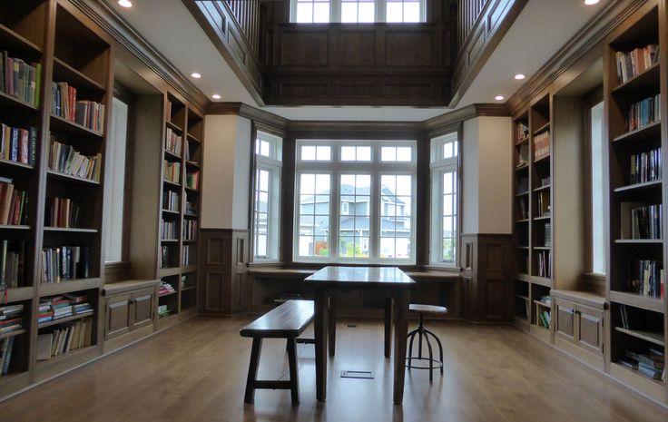 custom white oak home library