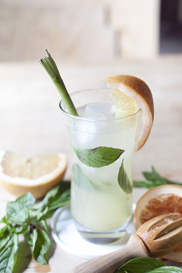 Fresh Thai basil and lemongrass give this grapefruit-based cocktail an intoxicating note of farawayness.