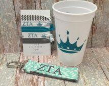 Zeta Tau Alpha Bid Day Bag; ZTA gift bag; Sorority gift bag; Zeta Tau Alpha Big Little; Zeta Cup, Hair Ties, Key Chain