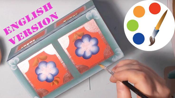 One stroke, Paint an orange box, Роспись  оранжевой шкатулки, irishkalia