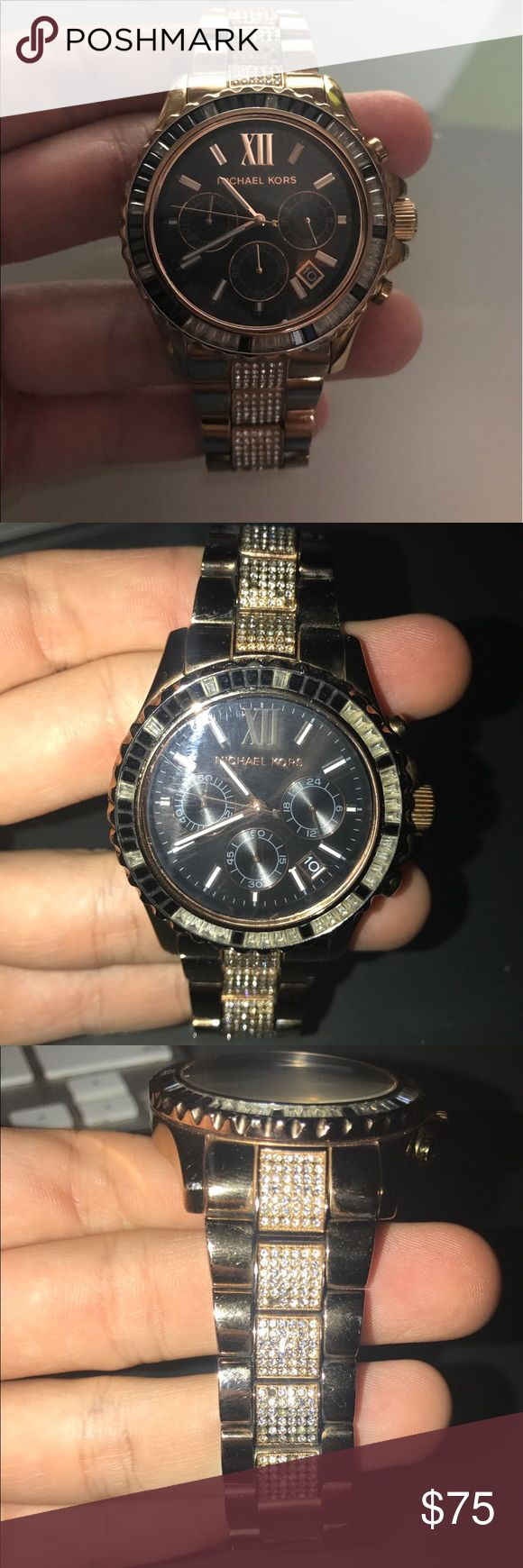 Michael Kors rose gold and black Glitz watch Some stones fell out. Color is slightly darker than average rose gold. Works well. Michael Kors Accessories Watches