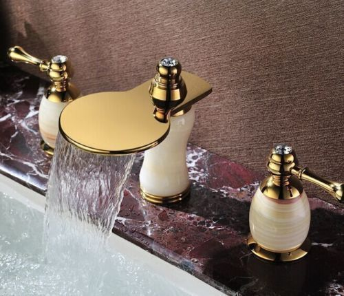 Luxury Tub 3pcs Widespread Bath Faucet For Basin Mixer Taps ,Brass+Jade Gold  #Unbranded